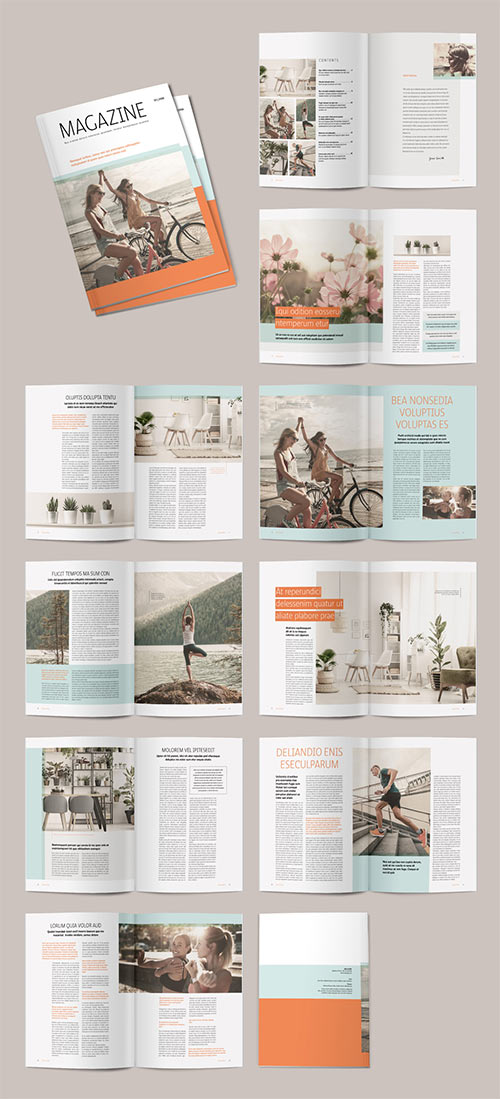 Magazine Layout with Teal and Orange Accents