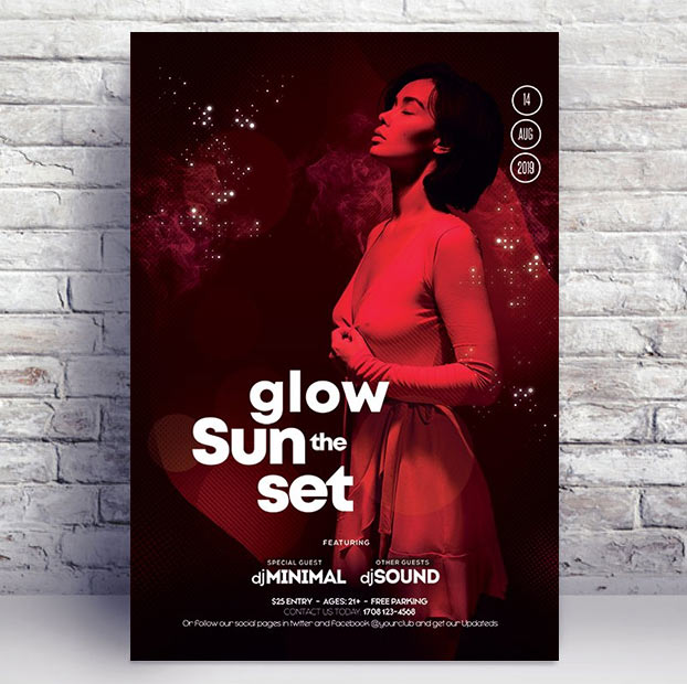 Glow the Sunset Club PSD Flyer Template