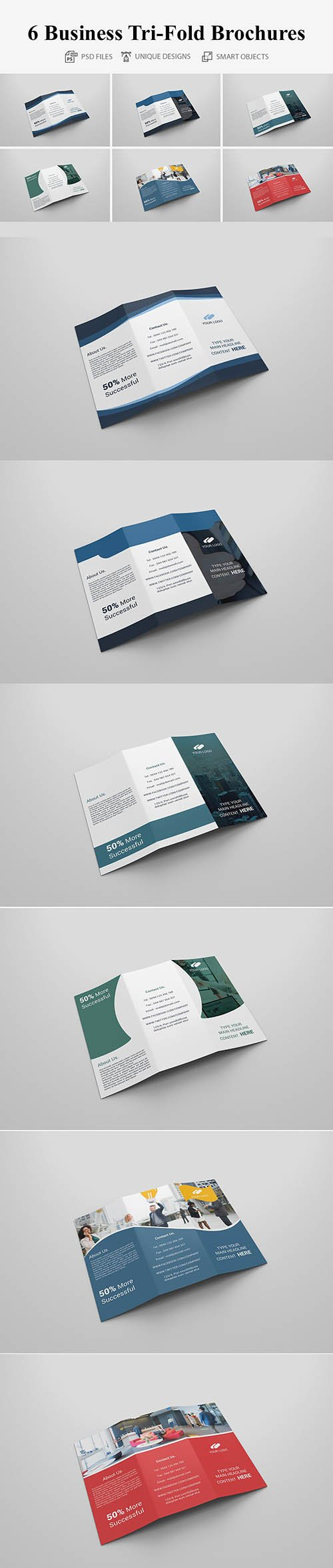 6 Business Tri-fold Brochures