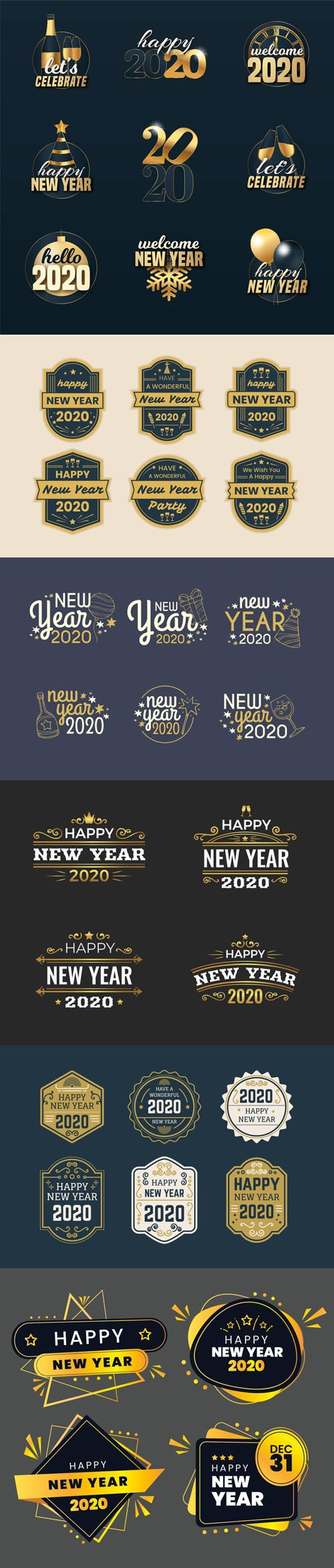 New Year 2020 Badges & Labels Vector Collection
