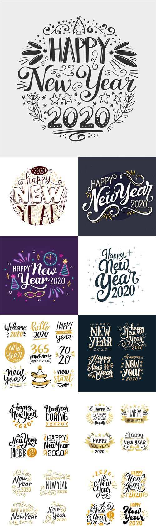 Happy New Year 2020 lettering Vector Pack