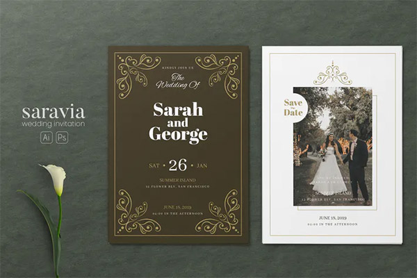 Minimalist Wedding AI and PSD Invitation Vol.02
